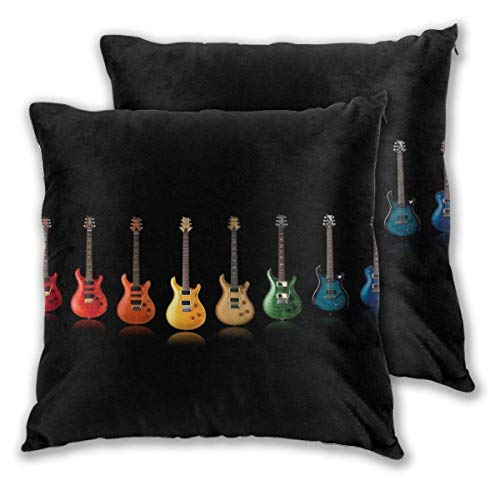 Lewiuzr Fundas de Almohada cuadradas, Guitarra Colorida, Paquete de 2 Fundas de cojín Decorativas, Fundas de Almohada para sofá, Dormitorio, Coche, 40 x 40 cm