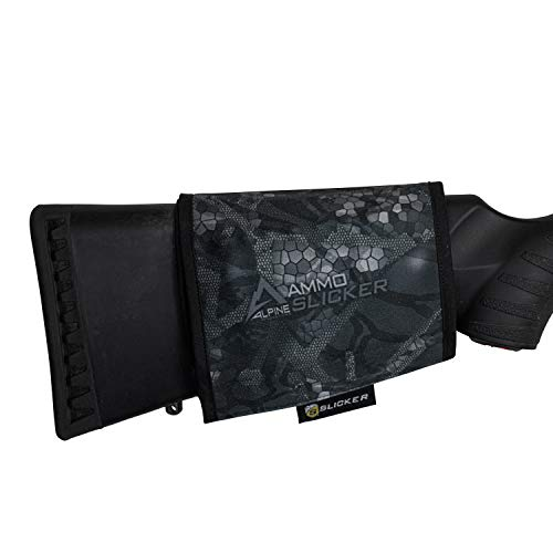 Alpine Innovations AmmoSlicker Buttstock Ammo Pouch - Large Caliber Fits 7 Rounds, Stealth Shadow