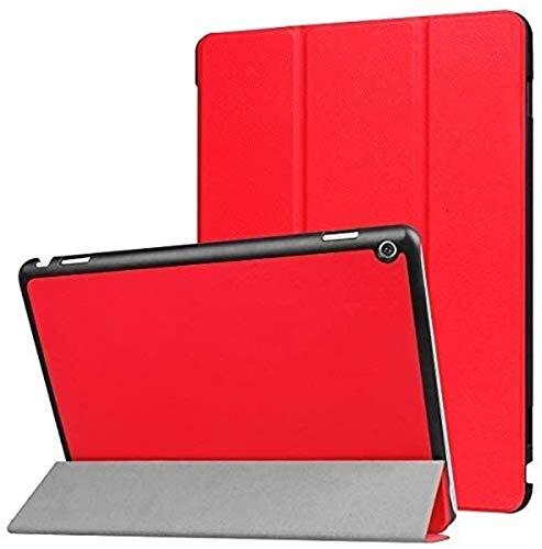 Accesorios De Pestañas para Huawei MediaPad M3 Lite 10, Soporte De Flip Stand CUBIERTE DE Table DE Cuero DE Lujo DE Lujo Inteligente para MEDIAPAD M3 Lite 10 BAH-W09 BAH-AL00 10' (Color : Red)
