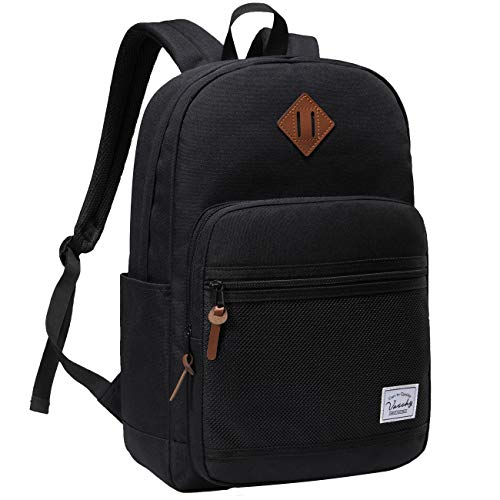 School Backpack,VASCHY Water Resistant Lightweight Casual Backpack for Men Women with Padded Laptop Sleeve Black