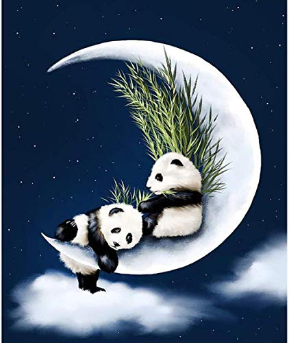 LSDEERE Malen nach Zahlen Tier Mond Panda DIY Ölgemälde von Zahlen Kit 16 X 20 für Erwachsene und Kinder Anfänger Geschenk kein Rahmen HML237