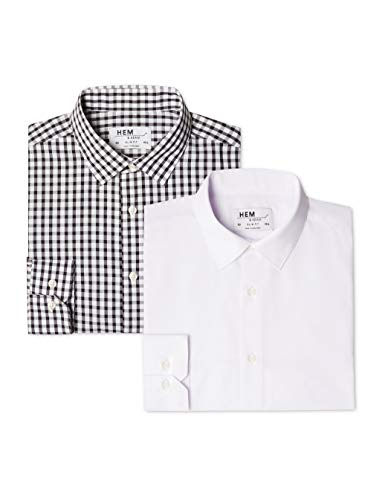 find. - 2 Pack Slim Shirt, Camicia formale Uomo, Multicolore (Block Check Black / White), 41 cm, Label: L