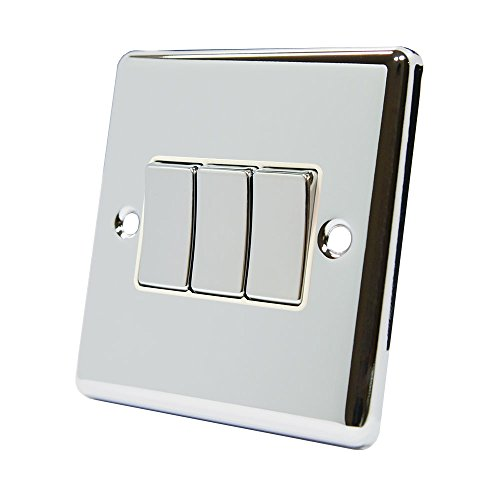 AET cpc3gswiwc 10A Lichtschalter 3-Fach 2-Wege-poliert Chrom klassischen Dreifach Lichtschalter mit weißem Einsatz Metall-Kippschalter