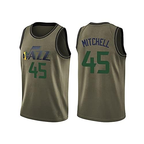 BAQIU Uniformes de Baloncesto para Hombre Jazz # 45 Mitchell Camiseta de Ventilador Chaleco sin Mangas Ropa Deportiva Uniformes Deportivos Transpirables, S-3XL