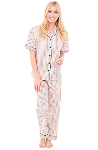Alexander Del Rossa Women's Lightweight Button Down Pajama Set, Short Sleeved Cotton Pjs, Small Orange and Gray Striped with Black Piping (A0518V67SM)