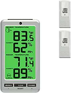 Ambient Weather WS-23-X2 Big Digit 8-Channel Wireless Thermo-Hygrometer with Two Remote Sensors
