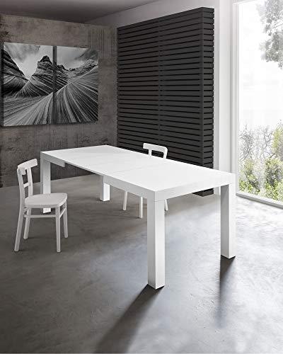 Tavolo allungabile moderno, mod.MORFEO finitura bianco frassinato cm.120x80 H75 con 2 allunghe cm.40 allungabile a cm.200 in nobilitato melaminico di alta qualità