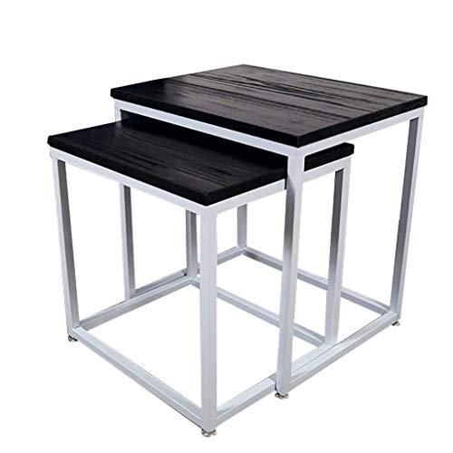 N/Z Tägliche Ausstattung Tische Schreibtisch Couchtisch Nordischer einfacher Beistelltisch Schmiedeeisen Schlafzimmer Wohnzimmer Multifunktionaler Ecktisch Kiefer Tischplatte Sofa Beistelltisch A.