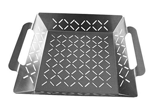Steuber Premium Line Edelstahl Grillkorb groß 35 x 29,5 x 6,5 cm, Grill-Schale, Ersatz für Aluminium Schalen
