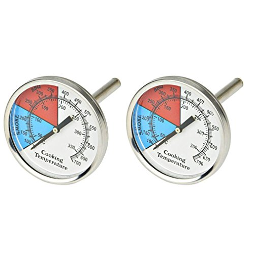 Onlyfire Professioneller BBQ Holzkohle Smoker Gasgrill Durchmesser 5,1 cm Thermometer (2er-Pack) Temperaturmessgerät