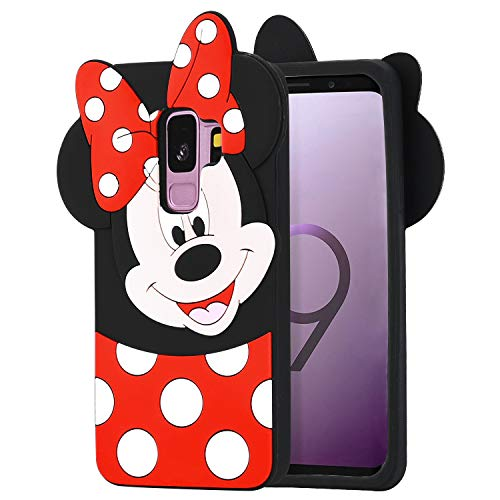 Allsky Case for Samsung Galaxy S9,Cartoon Soft Silicone Cute 3D Fun Cool Cover,Kawaii Unique Kids Girls Teens Animal Character Rubber Skin Shockproof Funny Cases for Galaxy S9 Minnie Mouse