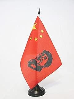 AZ FLAG China with Mao Zedong Table Flag 5'' x 8'' - Chinese Communist Desk Flag 21 x 14 cm - Black Plastic Stick and Base