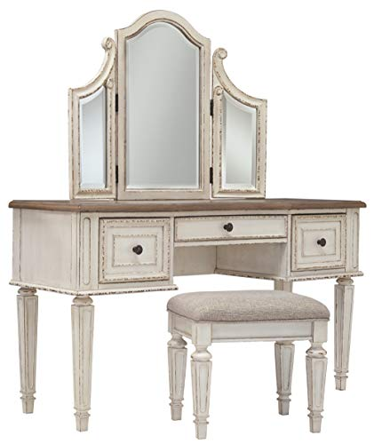 Signature Design by Ashley Vanity and Mirror with Stool, Chipped -