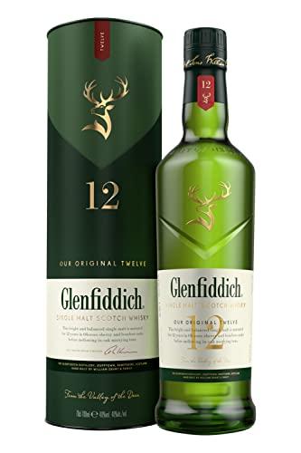 Glenfiddich Whisky - Whisky escocés de malta,12 años, botella 700 ml ✅