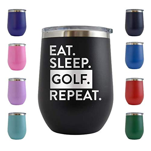Eat Sleep Golf Repeat - Engraved 12 oz Stemless Wine Tumbler Cup Glass Etched - Funny Birthday Gift Ideas for him, her, mom, dad, husband, wife...
