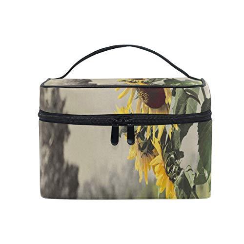 Sac de maquillage Beau sac cosmétique de tournesol Grand sac de toilette portable pour les femmes/filles Voyage