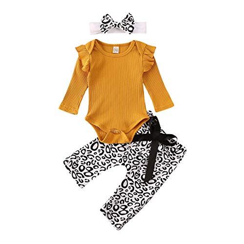 Geagodelia 3pcs Ensemble de Vêtement Barboteuse Top à Volant Nouveau-né Bébé Fille tricoté Combi + Pantalon Imprimé Léopard + Bandeau (Orange, 12-18 Mois)
