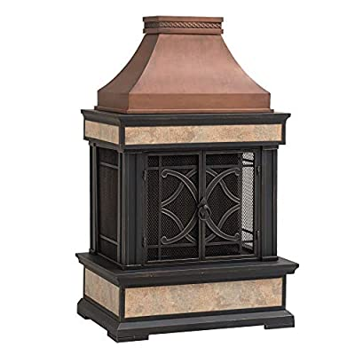 Sunjoy A304001001 Smith Collection Slate Wood Burning Fireplace, Copper