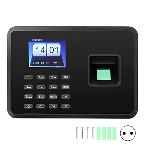 Reloj biométrico de huellas dactilares, pantalla TFT, reconocimiento facial, máquina de asistencia, reloj de tiempo, control de acceso para empresas Hora (negro, transl)