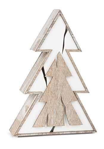 Kleine voet lichtdennenboom schijven hout, in chique shabby-chic-design, met verschillende houtsnijdingen in bruin en wit, kerstdecoratie met verlichting op batterijen decoratief artikel