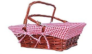 Oypeip Wicker Basket Gift Baskets Empty Rectangle Willow Woven Picnic Basket Cheap Easter Candy Basket Storage Basket Wine Basket with Handle Egg Gathering Wedding Basket (Auburn)