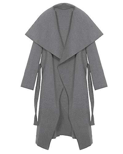 Kendindza Damen Mantel Trenchcoat mit Gürtel OneSize Lang und Kurz (One Size, Hellgrau Lang)