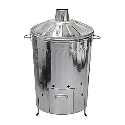 simpaoutdoor 125L 125 Litre Galvanised Metal Locking Lid Incinerator with Door Hatch - Single Incinerator - Quick Simple Assembly by simpaoutdoor