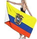 YHJUI Bandera de Ecuador Toalla de Playa Personalidad Piscina Toalla de baño de Gran tamaño de Agua 31.5 'X 51.2' Bandera de Ecuador