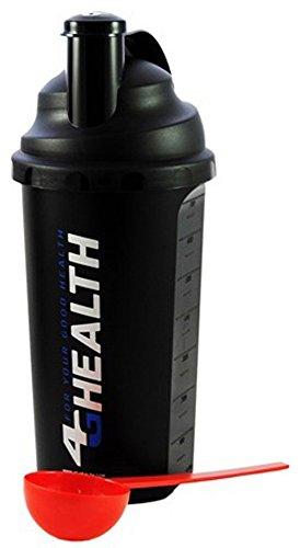 Preisvergleich Produktbild Eiweißshaker Schwarz 4G Health Eiweiß Shaker Set + Dosierlöffel - Protein Shaker - Mixer - Cocktailshaker (Schwarz-Silber)
