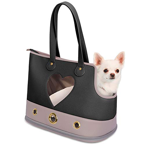 PetsHome Dog Carrier, Pet Carrier Purse, Dog Handbag Foldable Waterproof PU Leather Pet Tote Bag for Cat and Small Dog Small Black
