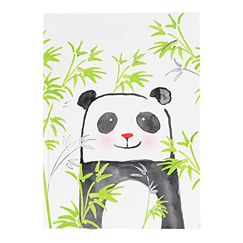 goldbuch 64 393 Cuaderno DIN A5 Panda en diseño Turnowsky, con 200 páginas, papel 100 g/m² en blanco, cubierta de papel de impresión con relieve plateado y marcapáginas, aprox. 15 x 22 cm