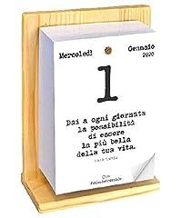 Idea Regalo - Calendario Geniale 2020 con Supporto. Leggi le frasi filosofiche con il comodo supporto in legno di Abete naturale