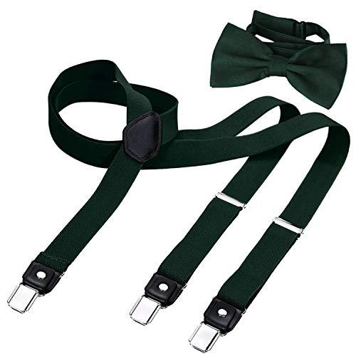 DonDon Herren Y-förmiger schmaler 2,5 cm Hosenträger elastisch und verstellbar im 2er Set mit farblich passender Fliege 12 x 6 cm - Grün