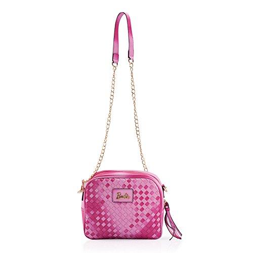 Barbie Borsa Messenger con catena in PU da Donna Ragazza Bambina Colore Viola, Rosa, Blu, Nero, 23 * 9 * 19CM#BBFB129 (Rosa)