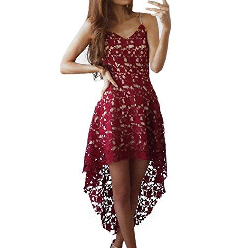 Xjp Frauen Cocktailkleid, Sexy Sleeveless V-Ausschnitt Spitze Kleider (40, Rot)