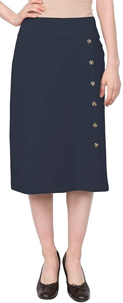 Baby'O Women's Stretch Cotton Knit Faux Button Front Below The Knee A-Line Skirt