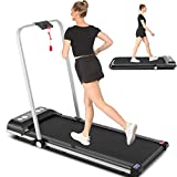 Sytiry Home 2 in 1 Folding Treadmill, 2.25HP Desktop Electric Treadmill, Installation-Free Device with Bluetooth Speaker, Remote Control and LED Display, Suitable for Home/Office/Gym