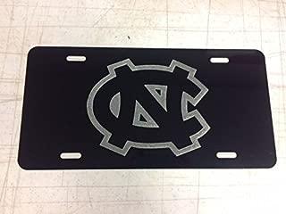 Diamond Etched UNC Logo Car Tag on Black Aluminum License Plate