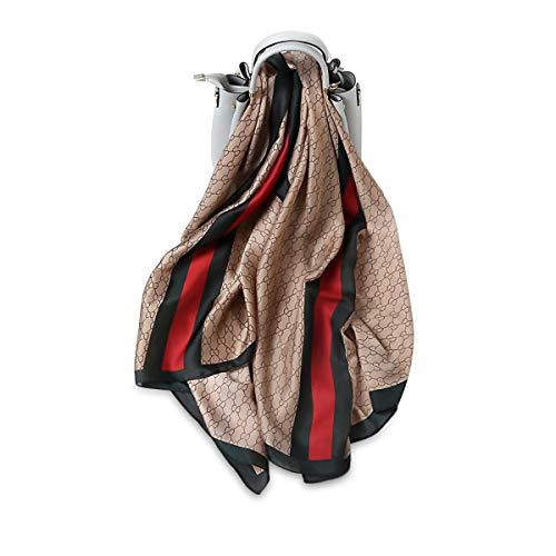 LumiSyne Sciarpa Di Seta Morbida Donna Stampa Vintage Sciarpa a Righe Colorate Motivo Floreale Lunghi Stole Scialle Protezione Solare Per Tutte Le Stagioni