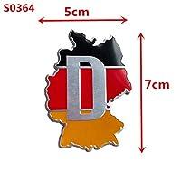 佑树-ゆうき 心 いちろう Newbee 3DアルミBMW VWアウディビュイック、シボレー、クライスラー、ジープ、フォードのためのデカールレースカーエンブレムドイツの国旗地図グリッドのバッジ (Colore : S0364)