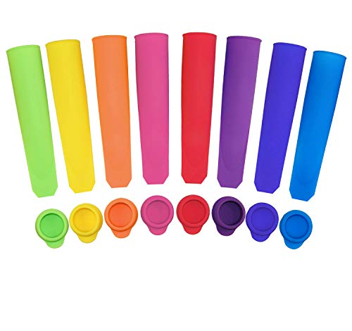 Silicone Ice Pop Molds with Lids, Set of 8
