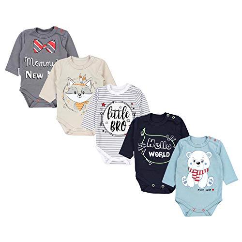 TupTam Baby Unisex Langarm Body mit Aufdruck Spruch 5er Pack, Farbe: Junge, Größe: 68