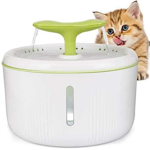 amzdeal Fuente de Agua para Gatos Silencioso 2L - Bebedero Automático con 2 Formas de Flujo, Dispensador Circular con Ventana de Agua y Luz Nocturna LED en Forma de Brote, para Mascotas Perros Gatos