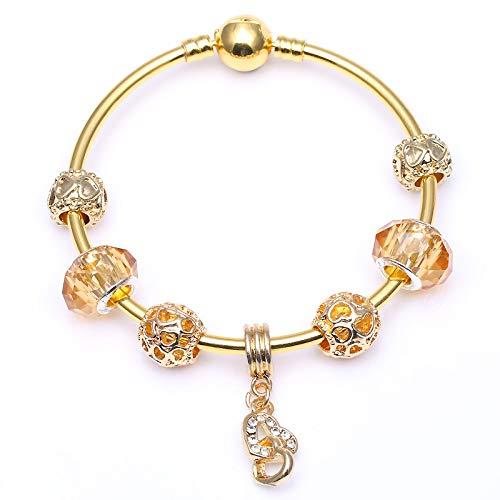 Colgantes de corazón de cristal se adapta a oro Color serpiente cadena encanto brazalete DIY joyería de moda regalo para las mujeres C01 17 cm