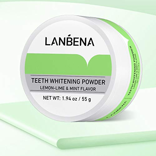 LANBENA Pearl Essence Teeth Whitening Powder, Remove Coffee Wine Tobacco Stains and Freshen Breath, No Damage to Enamel or Gum, No Mess 55g/1.94oz