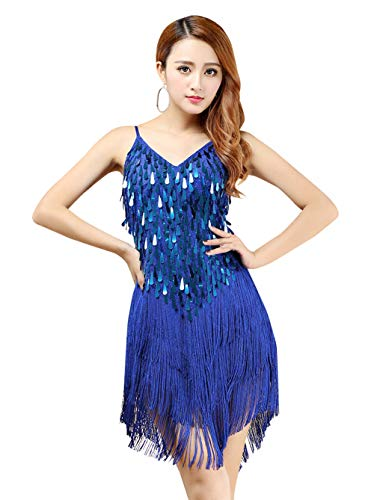 Women Sexy Latin Dance Dress Sparkling Sequins Tassels 1920s Vintage Flapper Dress Great Gatsby Party Costumes Blue