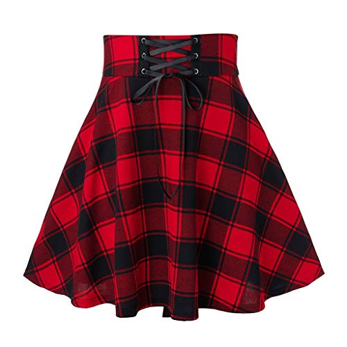 Momoxi Gonna di Stampa a Figura Intera in Stile retrò da Donna Gonna a Pieghe a Vita Alta Scolastica Gonna in Tartan Classico Gonne Donne Breve Vita Alta Pieghe Gonna Skater Scuola di Tennis