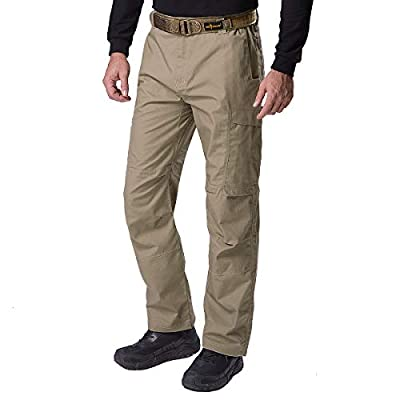 FREE SOLDIER Men's Water Resistant Pants Relaxed Fit Tactical Combat Army Cargo Work Pants with Multi Pocket (Classic Brown 36W/32L)