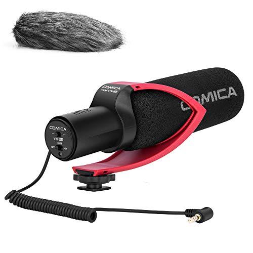 VideoMicro Micrófono de Condensador Comica CVM-V30PRO R Cámara Shotgun Micró con Soporte a Prueba de Golpes,Wind Muff, Micrófono de Video para Sony/Canon/Nikon/Fuji DSLR Cámara/Teléfono Inteligente