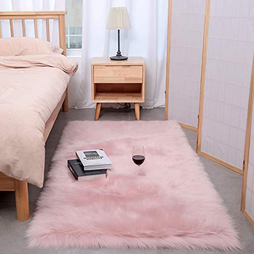 Faux Lammfell Schaffell Teppich Long-hair in Super weich Lammfellimitat Matten | Wohnzimmer Schlafzimmer Kinderzimmer | Als Faux Bett-Vorleger oder Matte für Stuhl Sofa (Hellrosa, 80 x 180 cm)